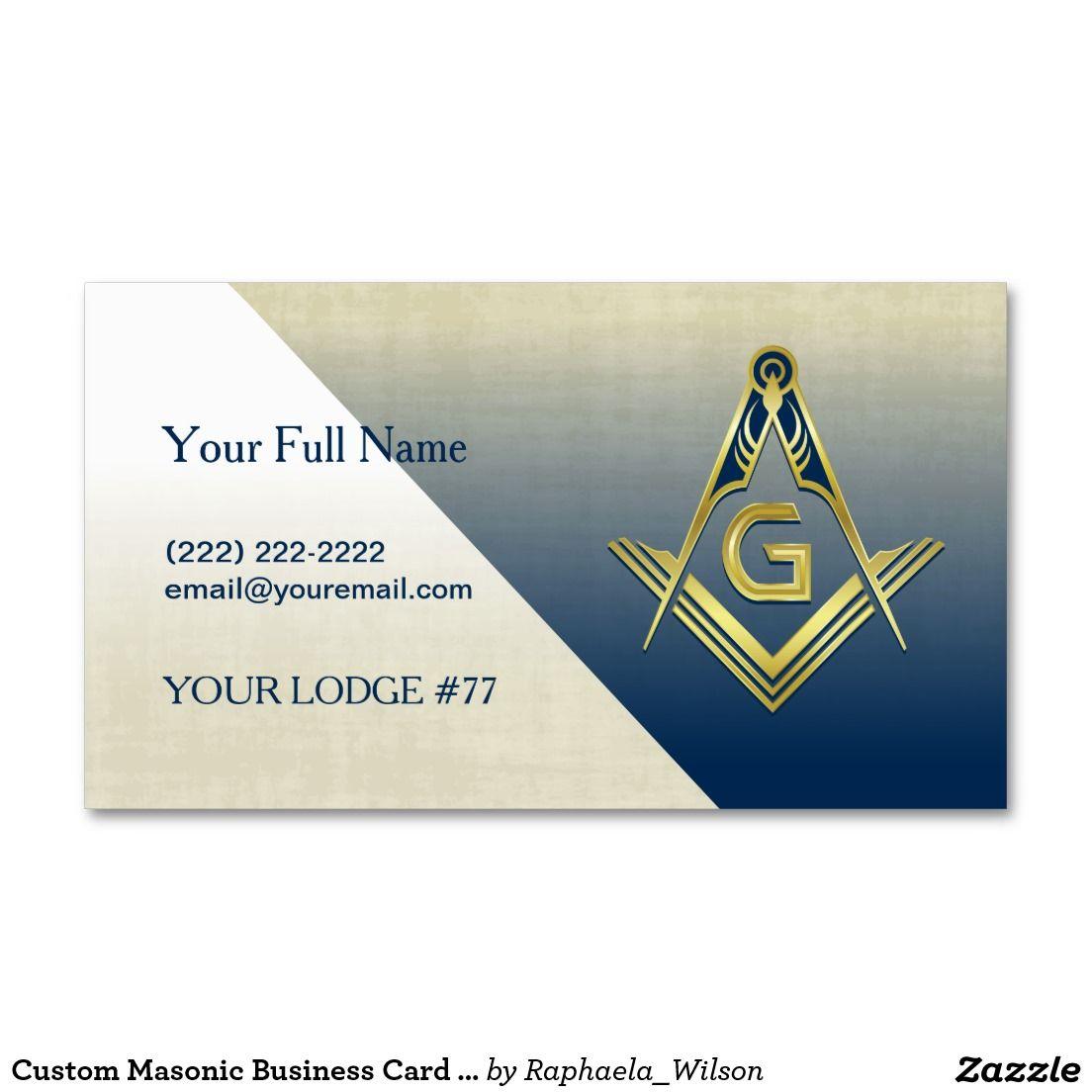 Custom Masonic Business Card Template, Navy & Gold | Card templates ...