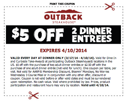Outback Steakhouse 5 Off Printable Coupon Outback Steakhouse Printable Coupons Coupons