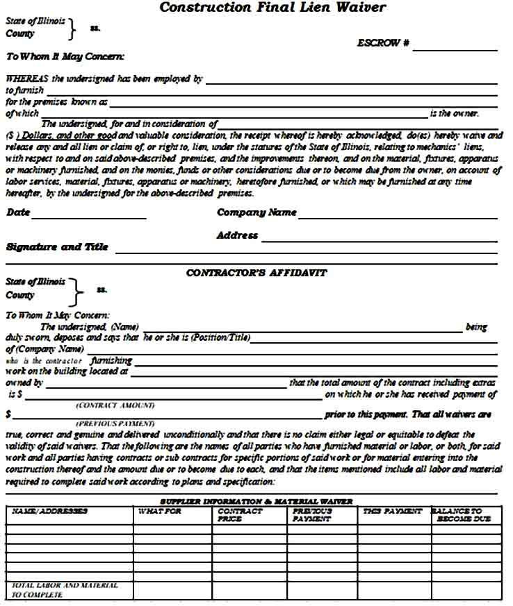 Template Lien Waiver Form Business Template Templates Legal Letter