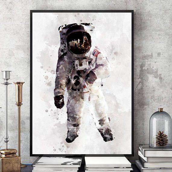 Astronaut Poster Nasa Print Kids Room Astronaut Wall Art Space Themed Room Space Kids Room Space Themed Bedroom