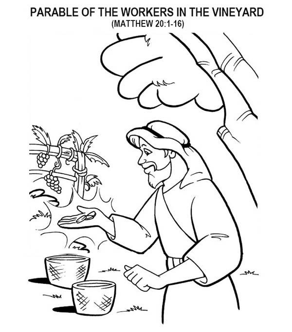 Parable Of The Workers In The Vineyard In Parable Of The Sower Coloring Page Coloring Pages Bible Story Crafts Parables