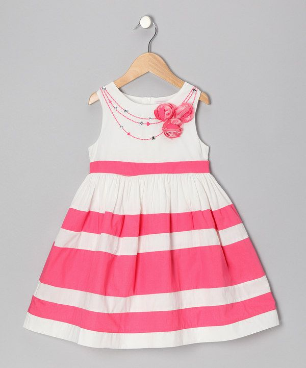 Take a look at this Ivory & Coral Stripe Flower Dress - Girls on zulily today!
