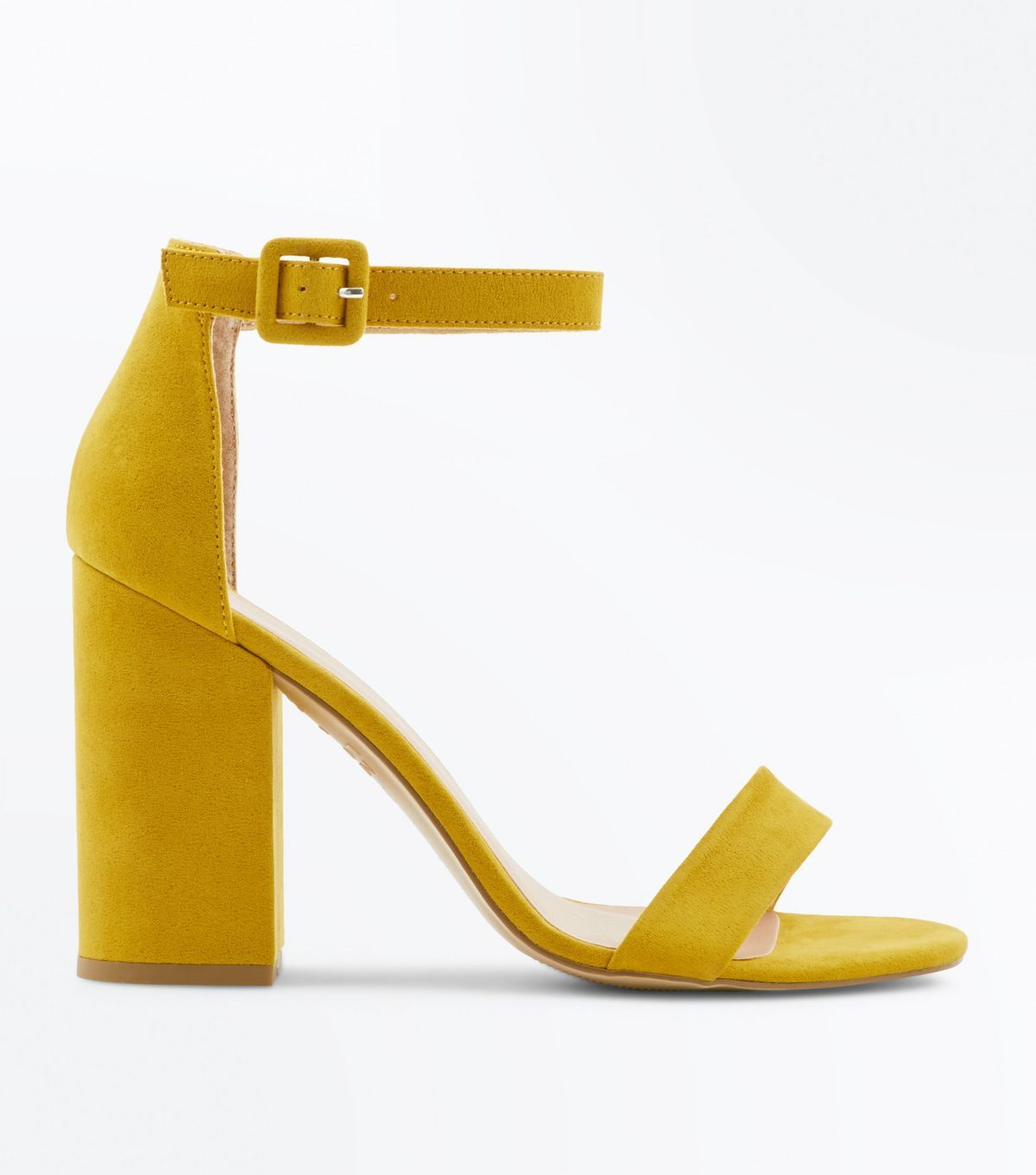 68d337c491b9 Mustard Suedette Block Heel Sandals