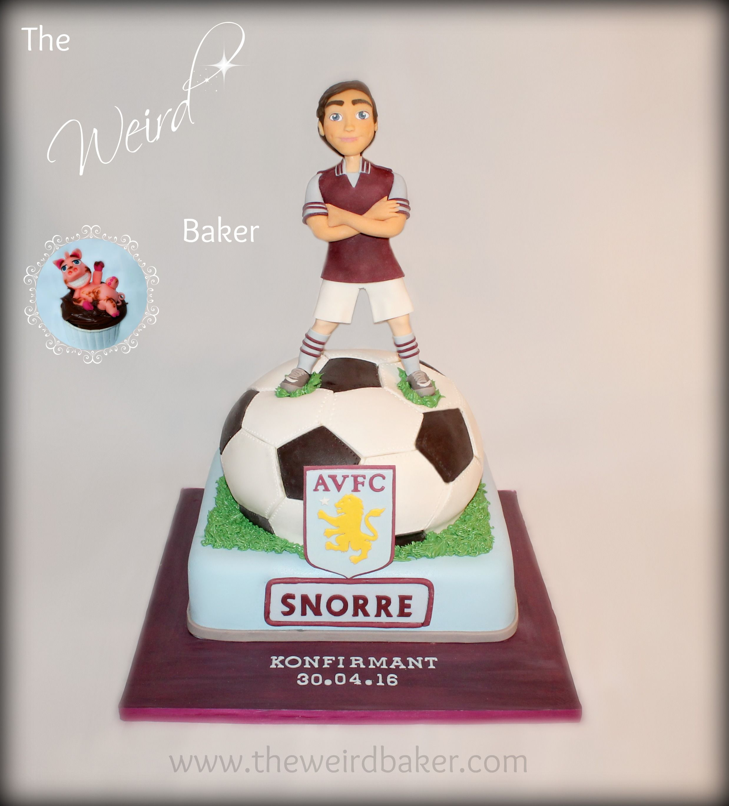 Aston Villa confirmation cake with a fondant model of the young man