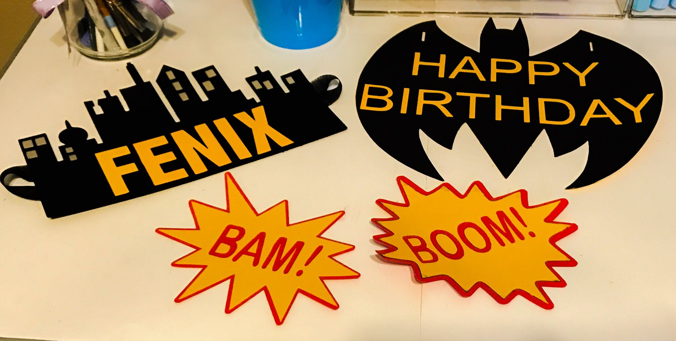 Batman kids birthday wall decorations banner ,homemade | Krafty ...