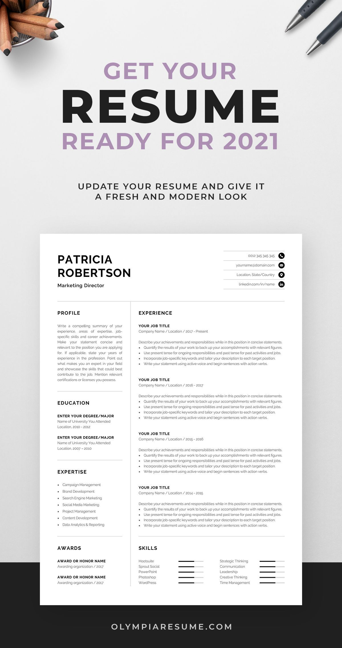 Professional 1 Page Resume Template Modern One Page Cv Etsy Resume Template Modern Resume Template Cv Words