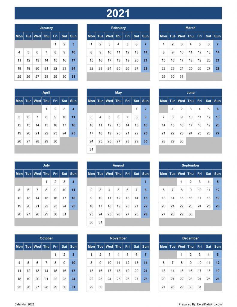 Download 2021 Yearly Calendar Mon Start Excel Template Exceldatapro Excel Templates Yearly Calendar Excel Calendar Template