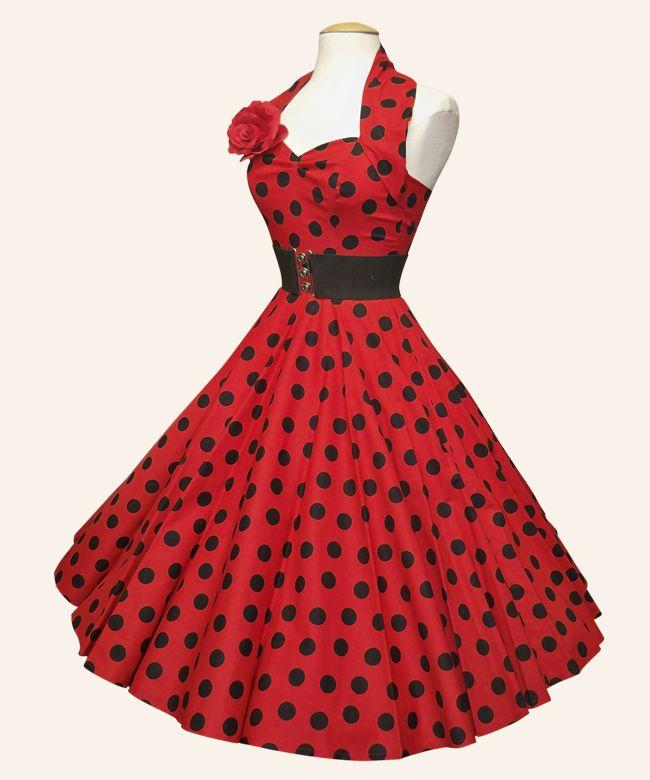 poodle dress. gotta love the 50s! bring it back! polka-dot, red flower