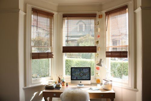 Desk In Front Of Bay Window Bays Windows Desks Homes Offices Window Desk Apartment Furniture Layout Window Decor