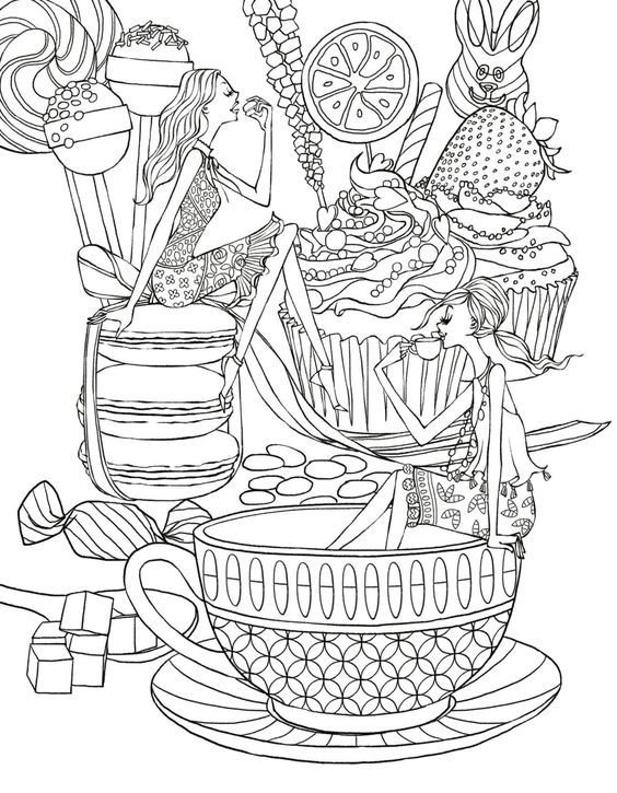 Tea Party Coloring Page Coffee Tea Coloring Pages For Adults