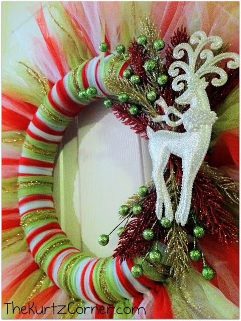 DIY Christmas Mesh Wreath Tutorial: She gives super easy step by step instructions and they are the CUTEST wreaths! Description from pinterest.com. I searched for this on bing.com/images