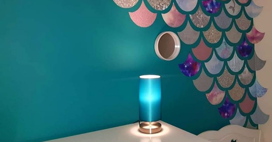 Mom DIYed The Most Magical Mermaid Bedroom Using Wallpaper Samples