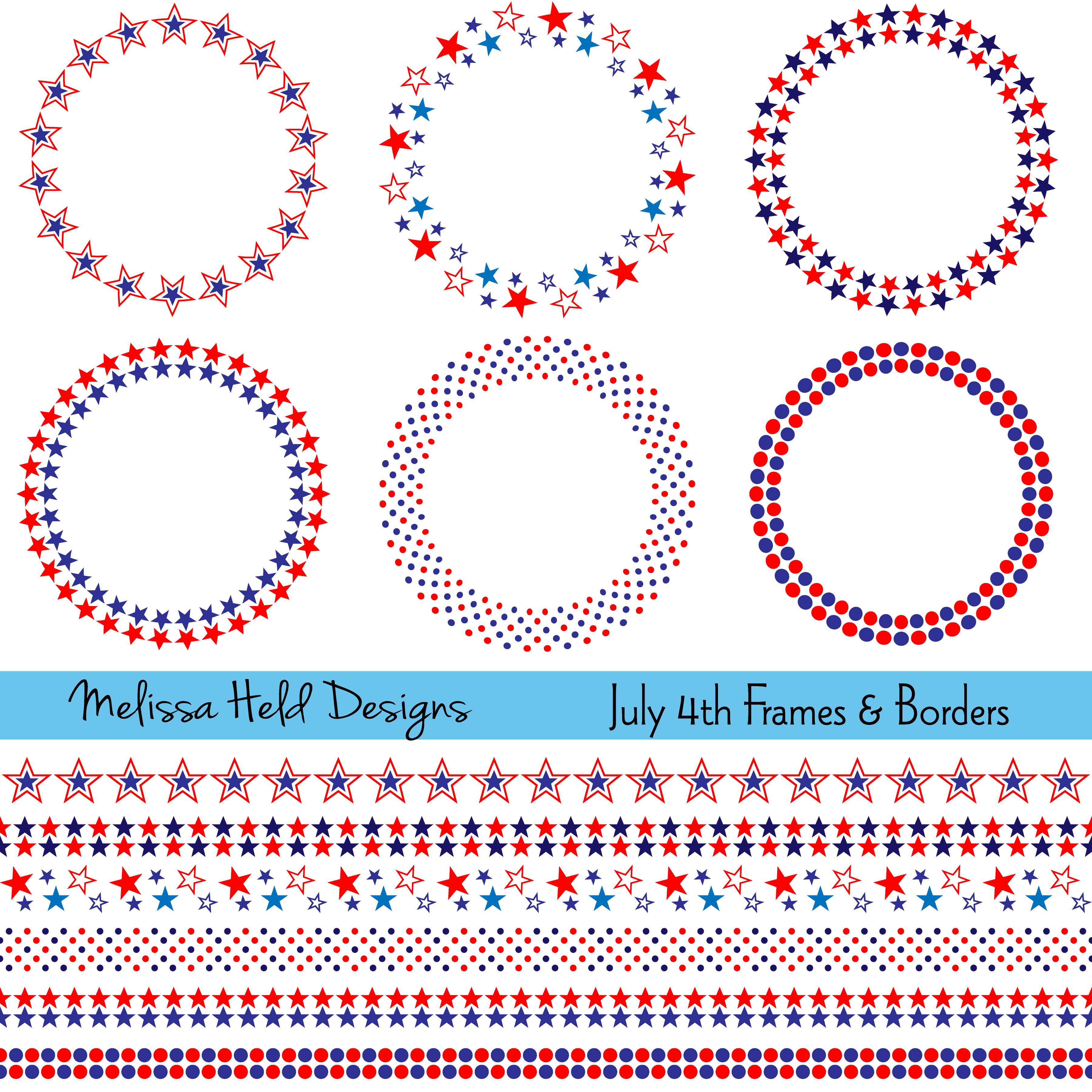 July 4th Frames And Borders Border Pattern Dot Painting Circle Frames