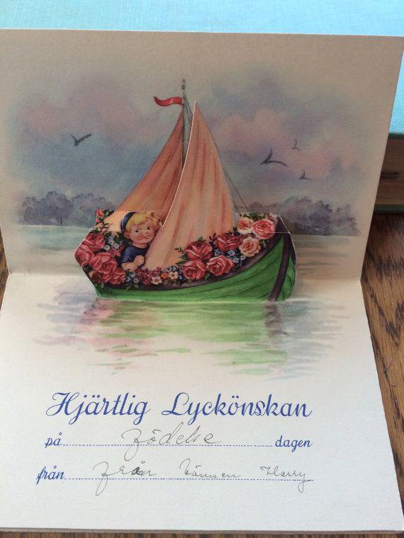 Vintage Swedish Birthday Greeting Pop Up Card Child Sailboat Roses