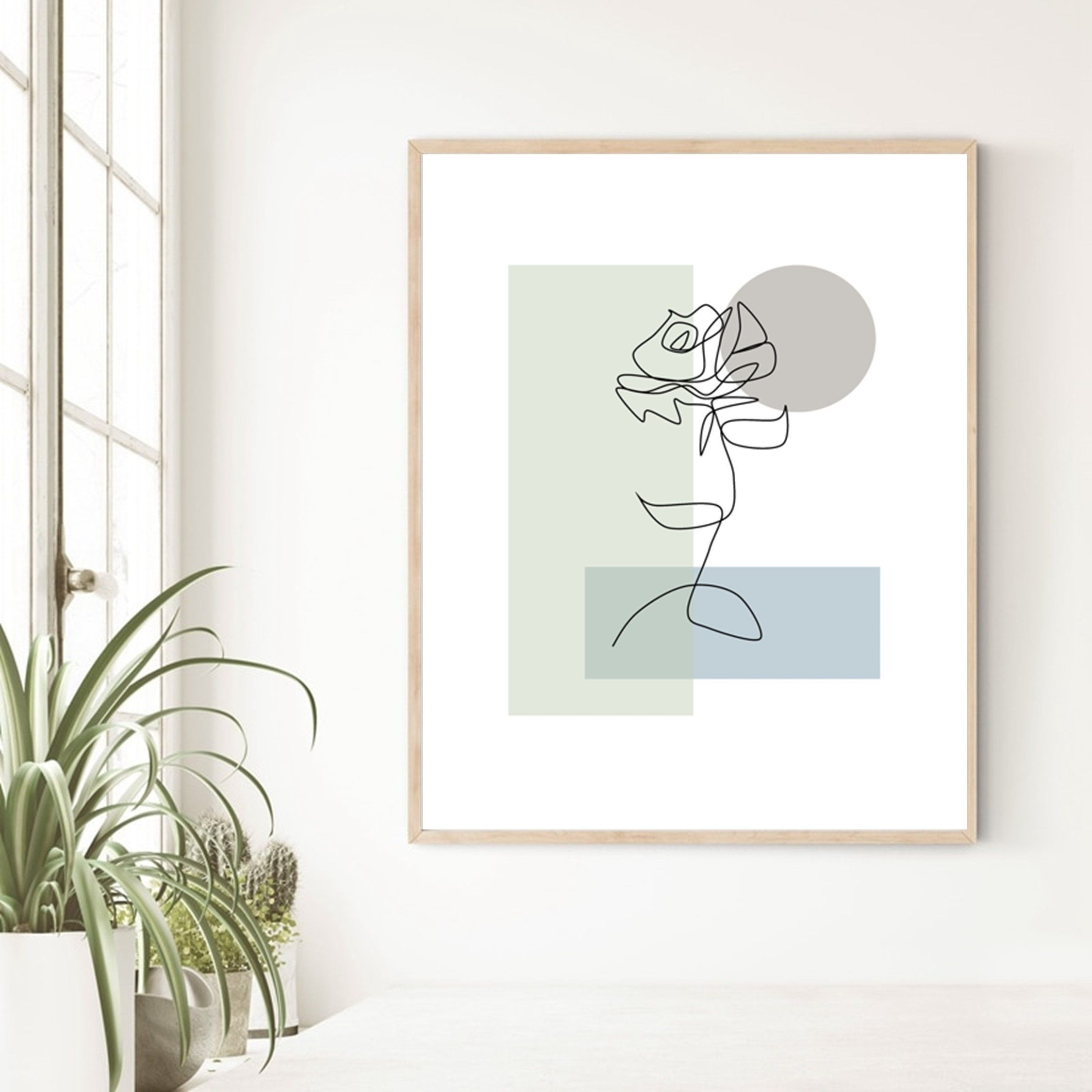 Flower Line Drawing Printable Rose Outline Green Minimalist Etsy In 2021 Flower Line Drawings Wall Art Decor Living Room Etsy Wall Art
