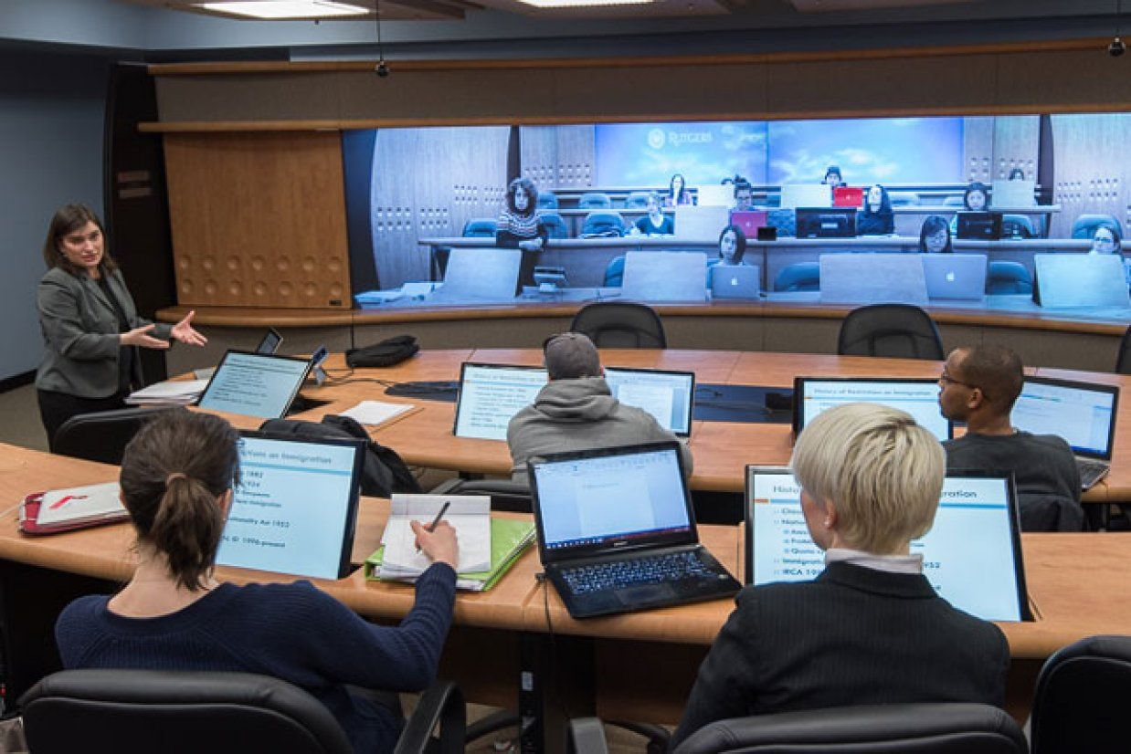 Modern Legal Classroom New Technology Expands Course Options Connects Campuses Rutgers University New Education School Technology Higher Education Quotes