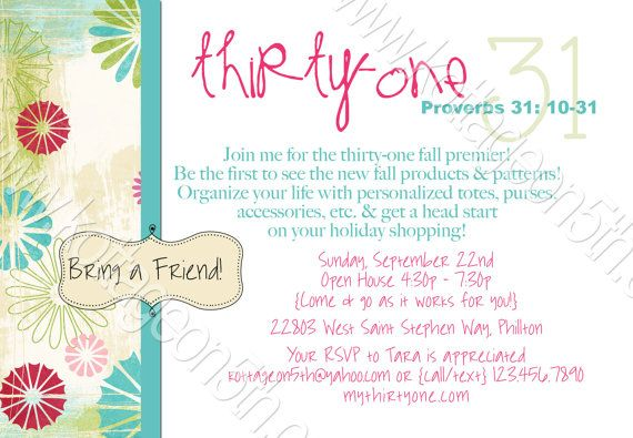 The 37 best ideas about Thirty One – 31 Party Invite