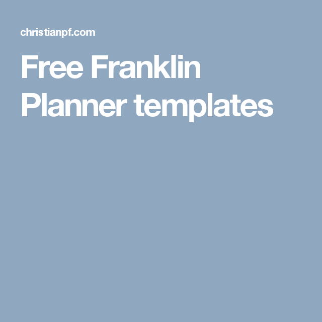 Free Franklin Planner Templates