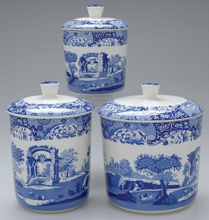 3 pc canister set spode blue italian camilla newer at