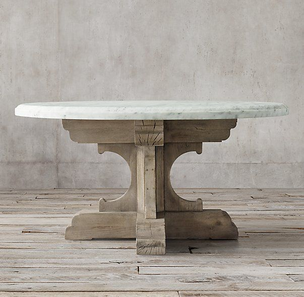 Restoration Hardware Marble Coffee Table: 17th C. French Bastide Oak & Marble Round Dining Table