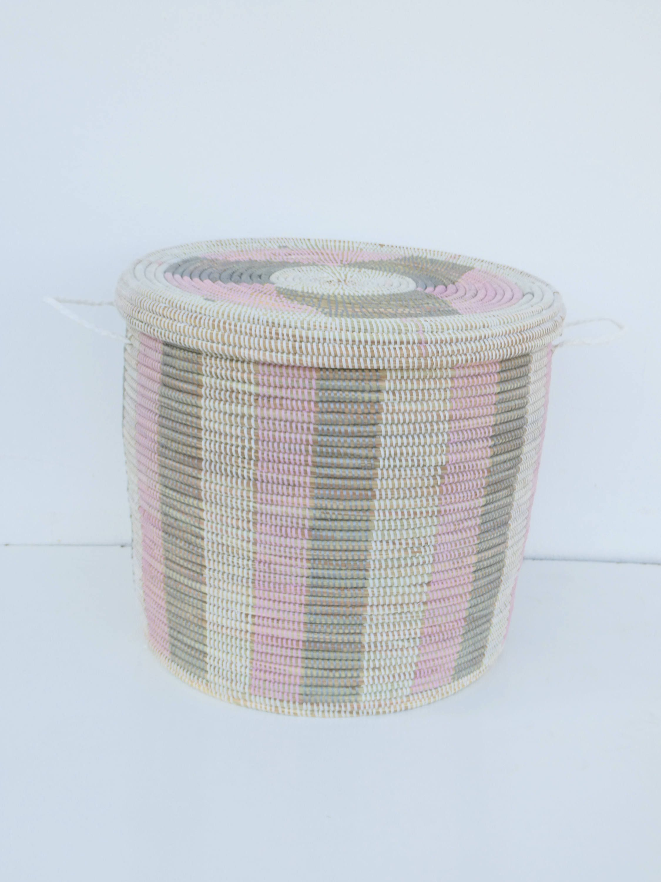 African Basket With Flat Lid In Bubble Gum Pink And Silver Grey