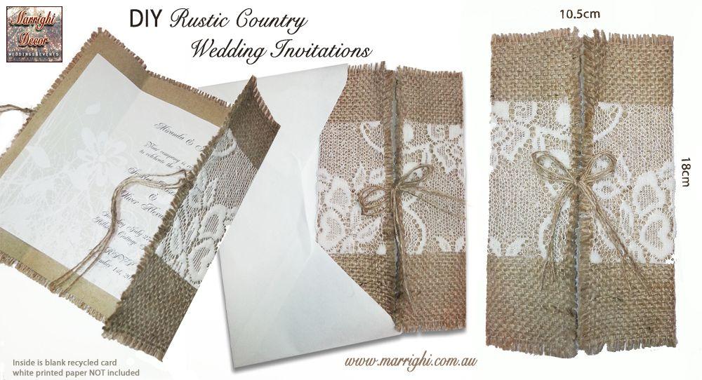 diy country wedding invitations menu holder hessian burlap With diy hessian wedding invitations