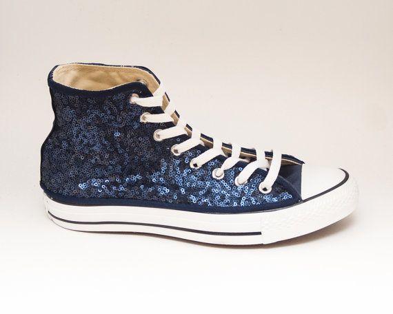 b03c64ef9d0 Sequin Navy Blue Converse Canvas Hi Top Sneaker by princesspumps