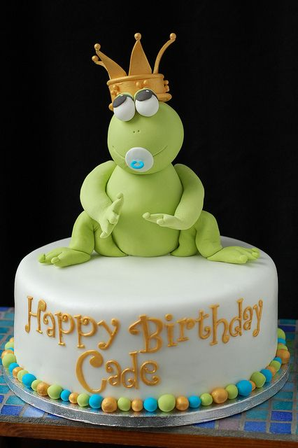 Magnificent Cades Frog Prince Birthday Cake Front Frog Cakes Pond Cake Funny Birthday Cards Online Necthendildamsfinfo