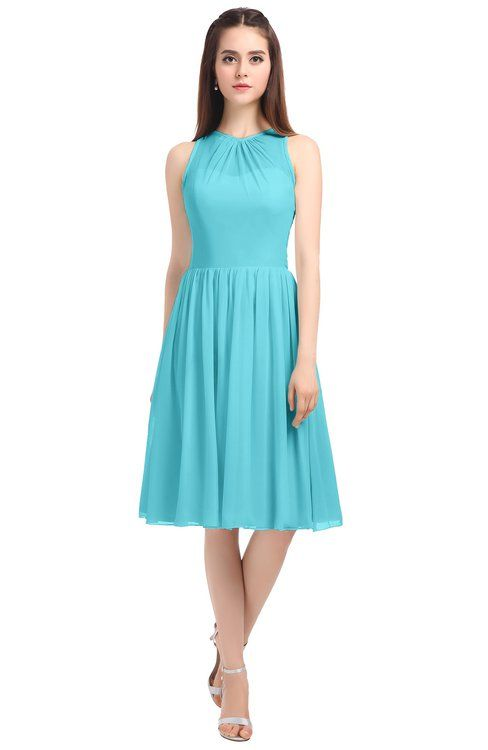 96684bbbaa97 ColsBM Ivory Turquoise Elegant A-line Jewel Zip up Knee Length Bridesmaid  Dresses
