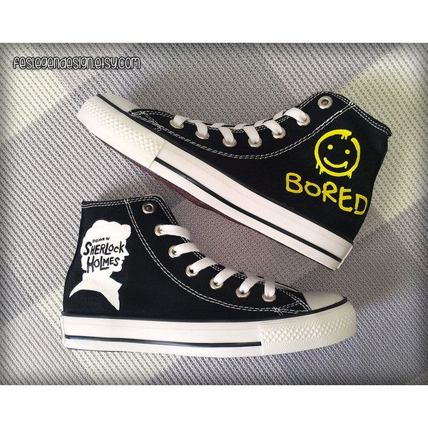 1307cd15c162ac Sherlock  Bored  Painted Shoes   Custom Converse ( 70) ❤ liked on Polyvore  featuring shoes