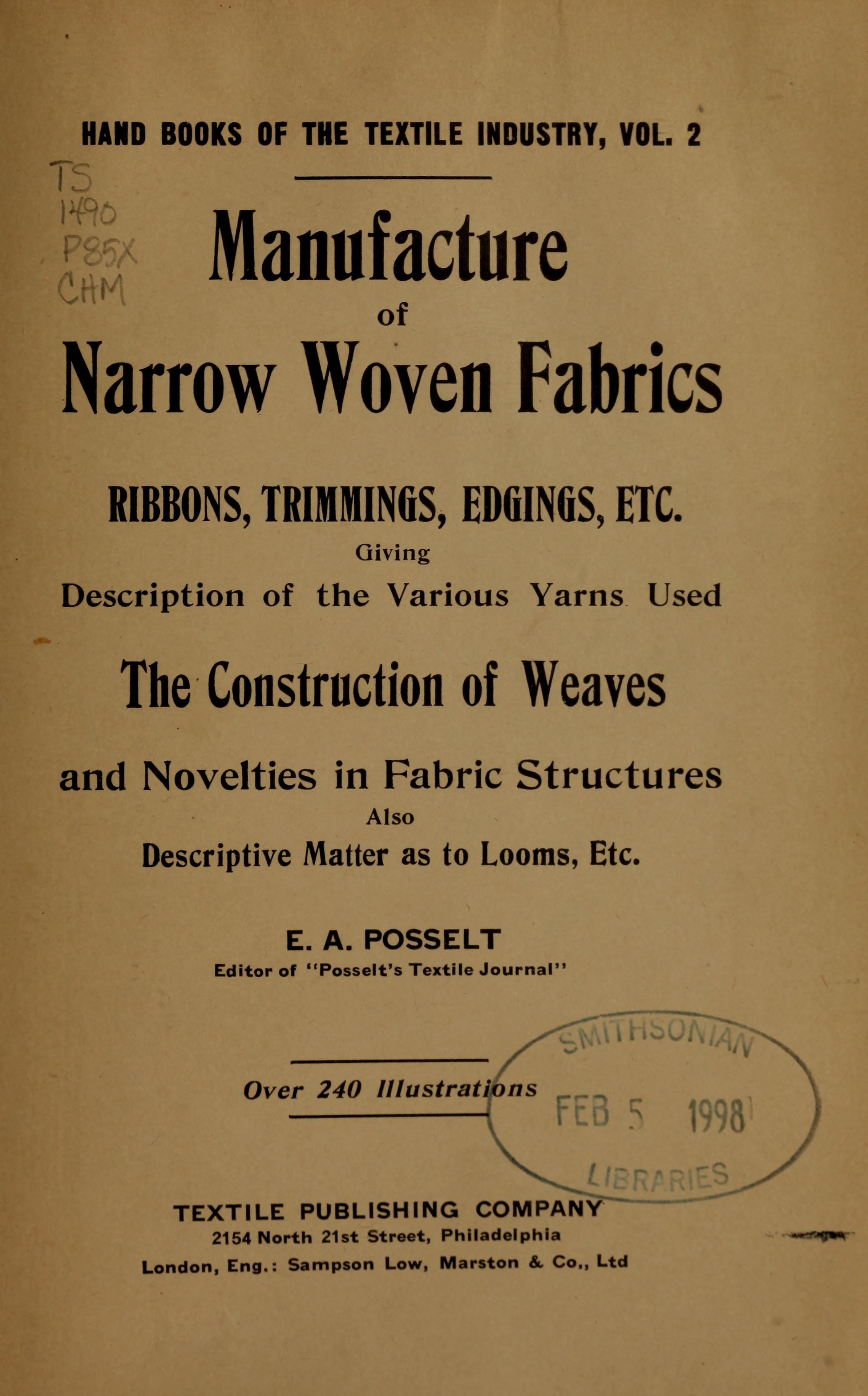 Manufacture of narrow woven fabrics, ribbons, trimmings, edgings, etc.