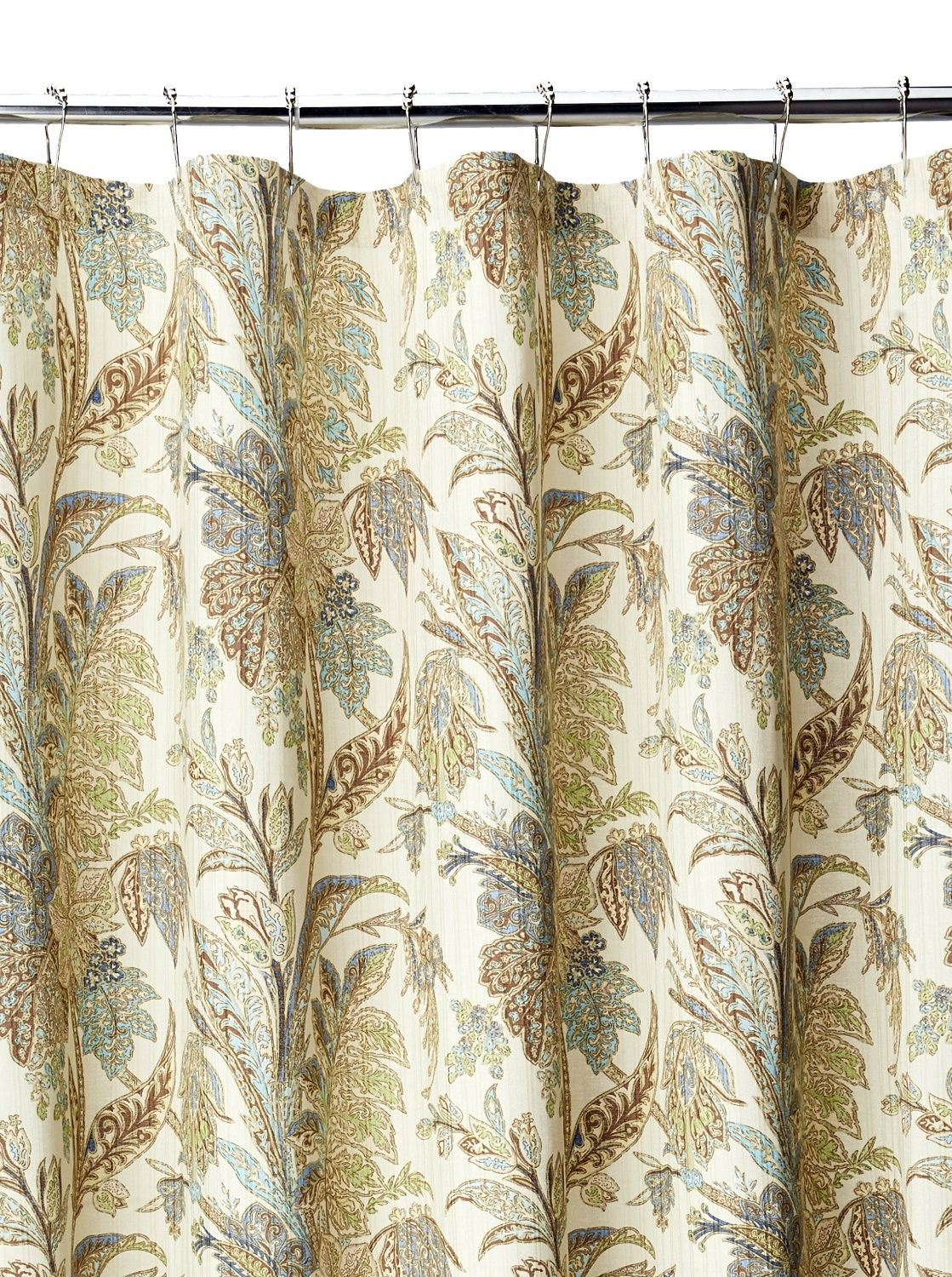 Tommy Bahama Bimini Tropical Fabric Shower Curtain Brown Beige