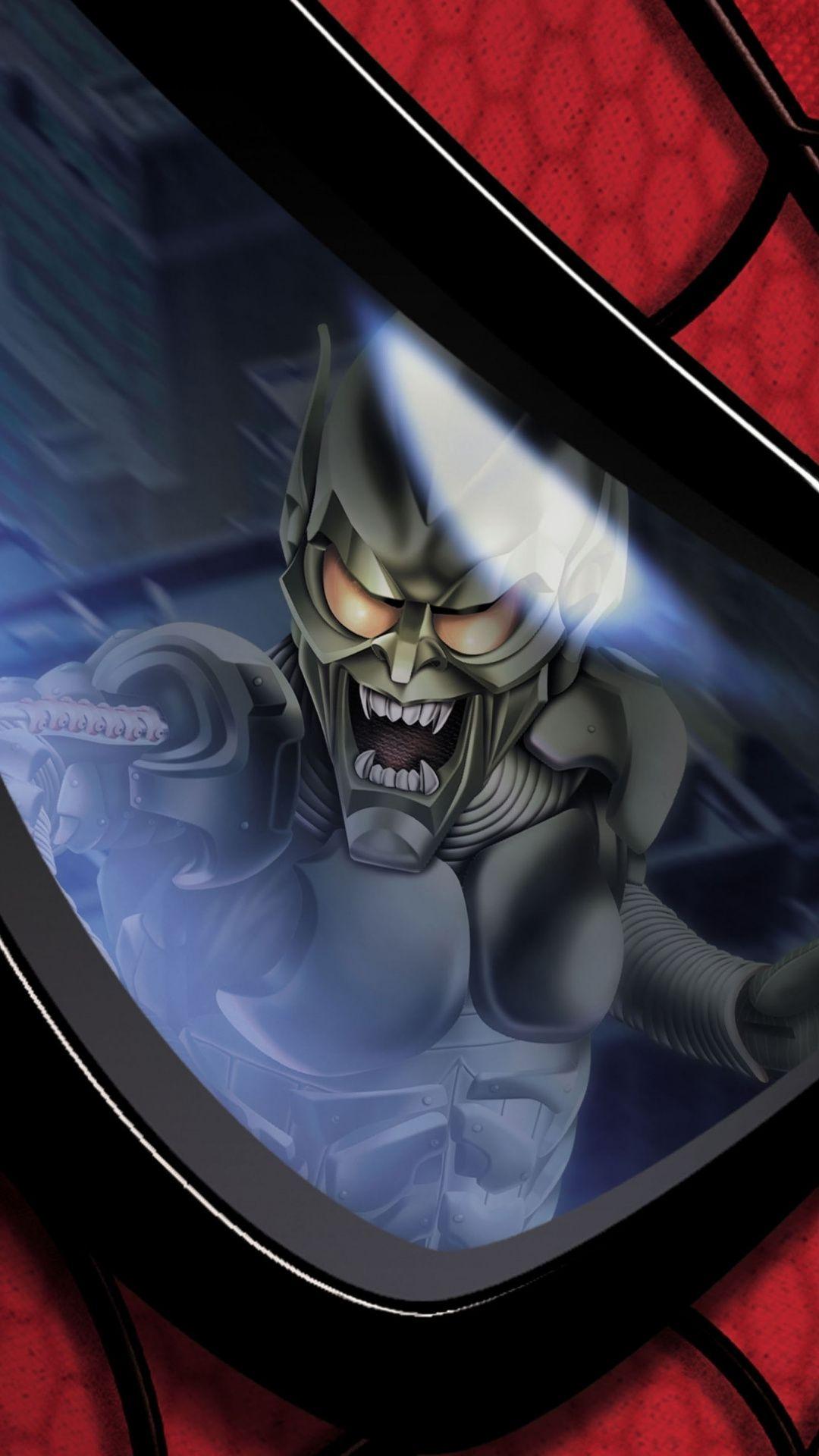 fbdd4a603dcb6 Green goblin, villain, Spider-man, eye's reflection, movie, 1080x1920  wallpaper