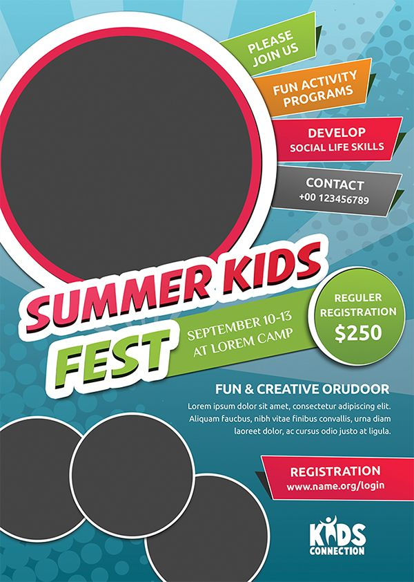 This Kids Summer Camp Flyer Template, can be used for promote your