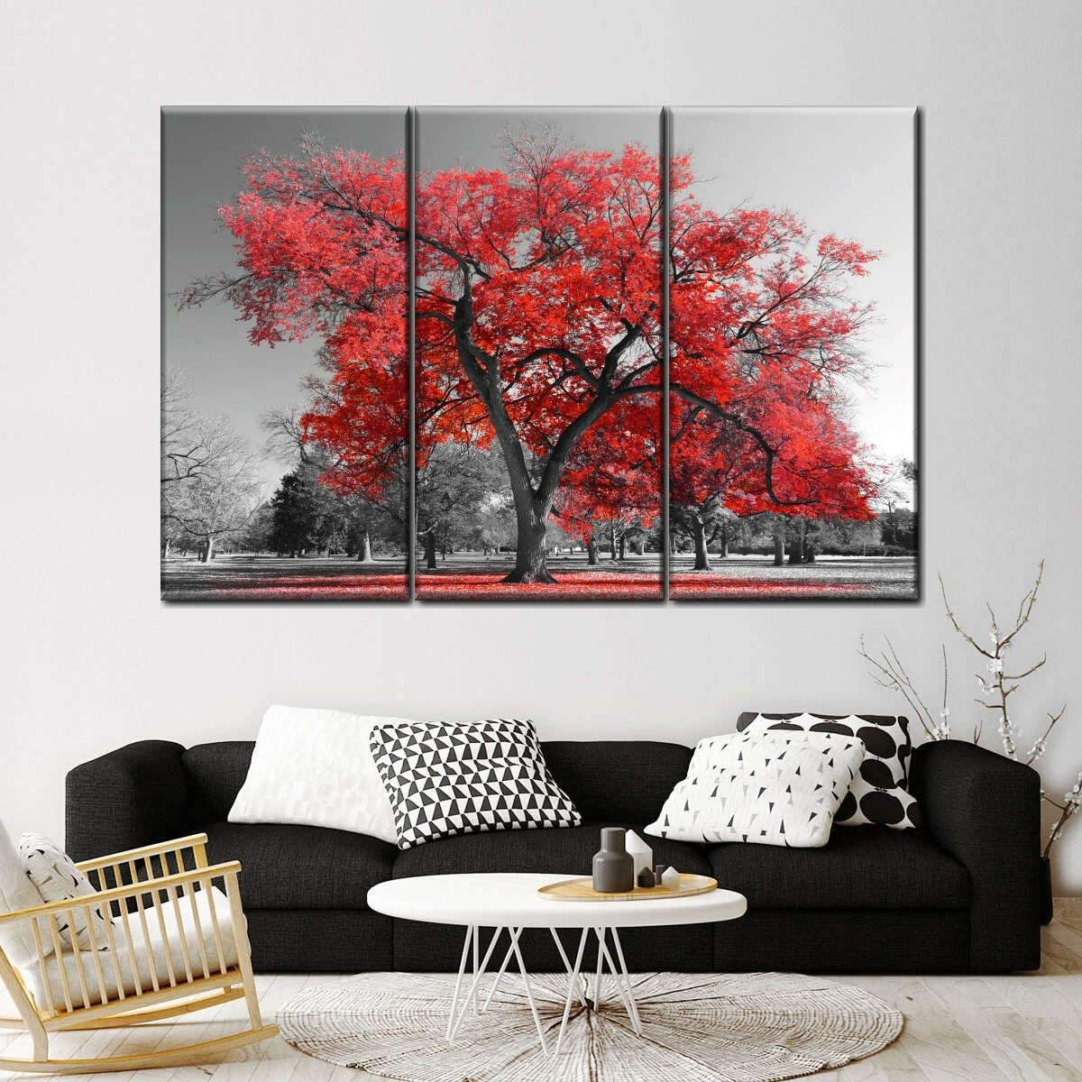 Big Red Tree Multi Panel Canvas Wall Art Red Wall Art Living Room Red Wall Art Wall Canvas