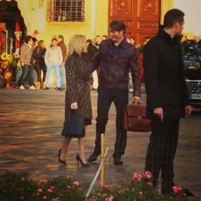 Mads Mikkelsen and Gillian Anderson in Florence,Italy - Dec 2014 - Shooting #Hannibal season 3