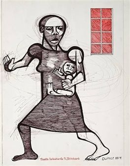 Mother and child By Dumile Feni-Mhlaba | Dumile Feni | South african