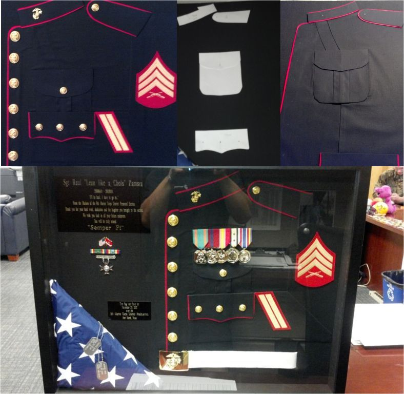 Diy Us Marine Shadowbox Box And Fabric From Hobby Lobby And Drew Out Some Templates And With Some Doublesided Tape Military Shadow Box Shadow Box Usmc Love