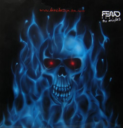 Blue Fire With Skull By Feno A Photo On Flickriver Skull Art Skull Pictures Skulls Drawing