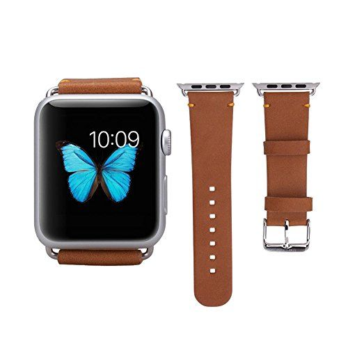 Apple Watch Band,SOLEMEMO® 38mm Genuine Leather Strap Wrist Band Replacement with Metal Clasp for iWatch Apple Watch Sport Edition(Brown) SOLEMEMO http://www.amazon.com/dp/B00YTMH2EW/ref=cm_sw_r_pi_dp_jjI4wb15G8XYT