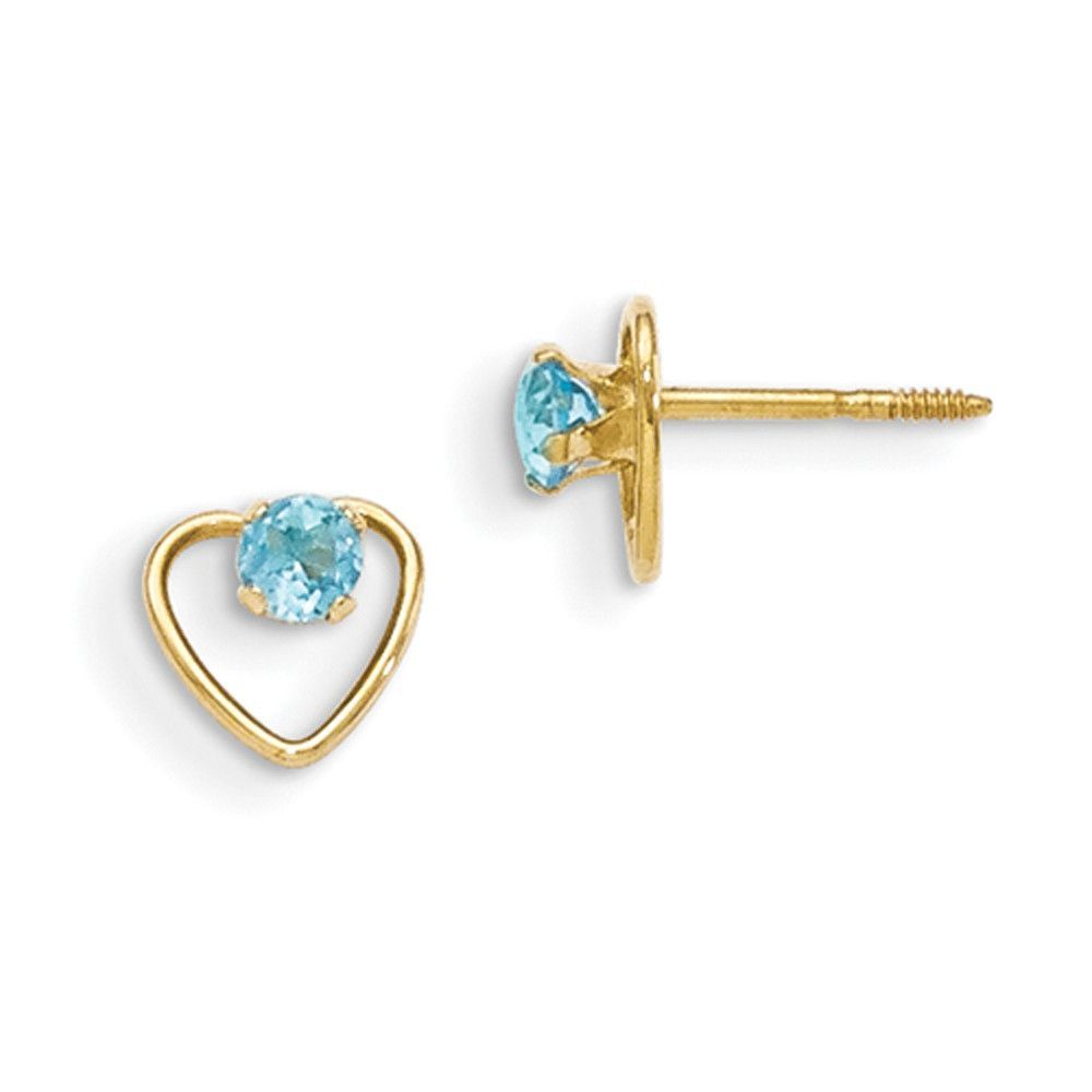 a67f33df0 14kt Yellow Gold Open Heart 3mm Blue Zircon Screwback Girls Earrings ...