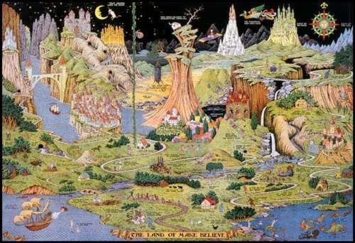 Freaking Out Children Since The 1930 S The Land Of Make Believe Map By Jaro He Make Believe Hand Drawn Map Art