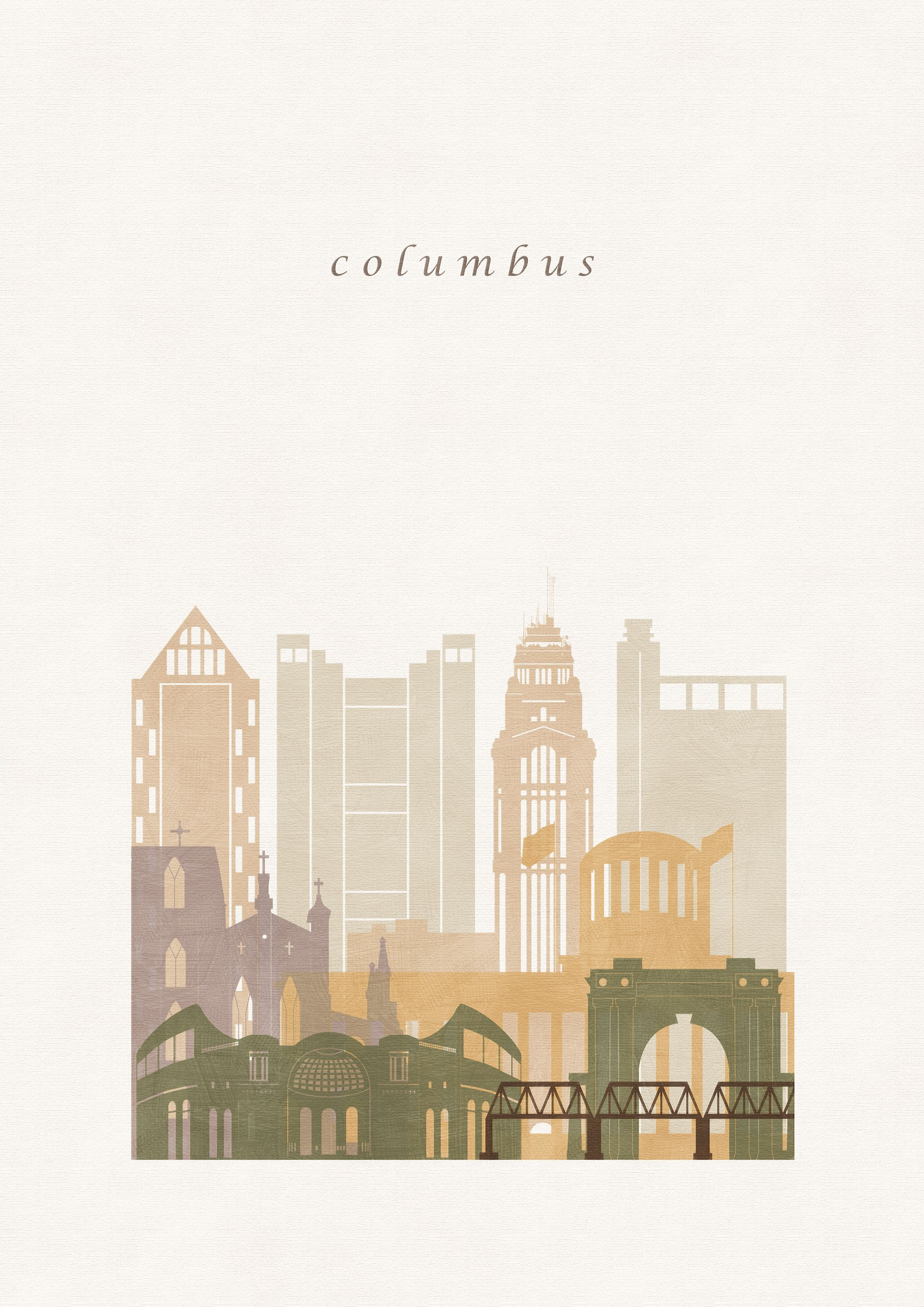 Columbus Illustration Printable Oh Travel Wall Art Prints Etsy Travel Wall Art Wall Art Prints City Prints