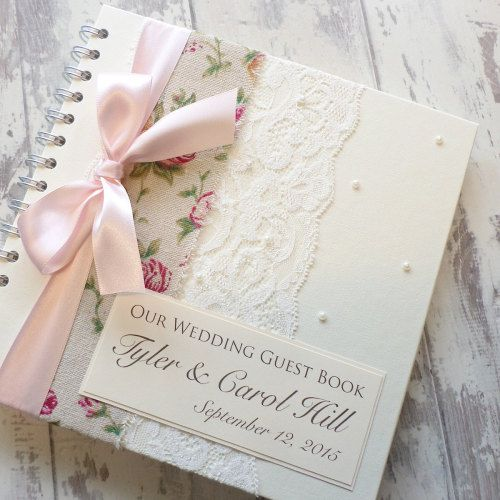 Rosa Lace Wedding Guest Book with Pearls
