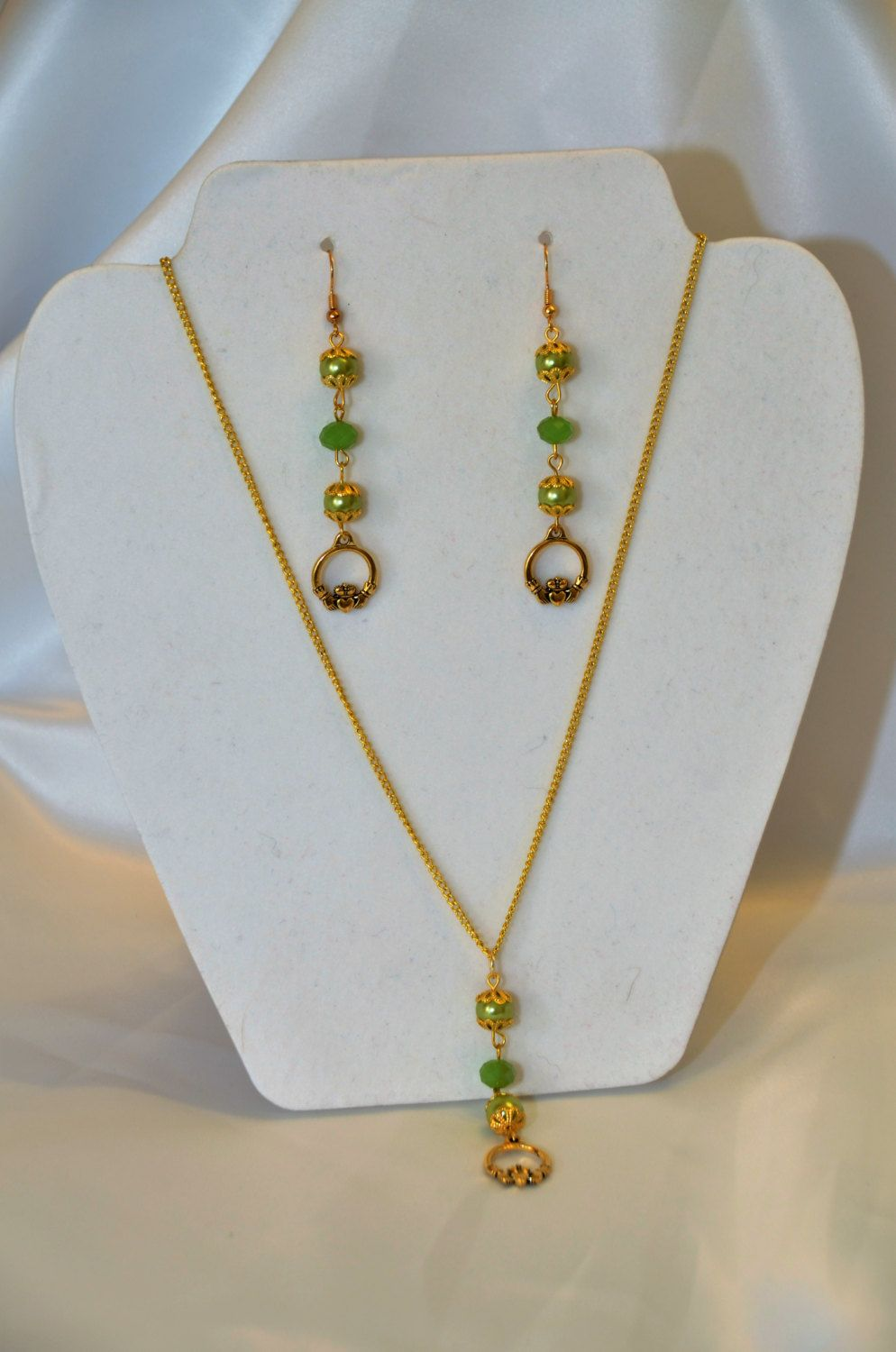 Handmade Green  Brass /Gold  Claddagh Necklace with Earring Set ~ Irish Blessing ~ Celtic Promise by DivinityBraid on Etsy