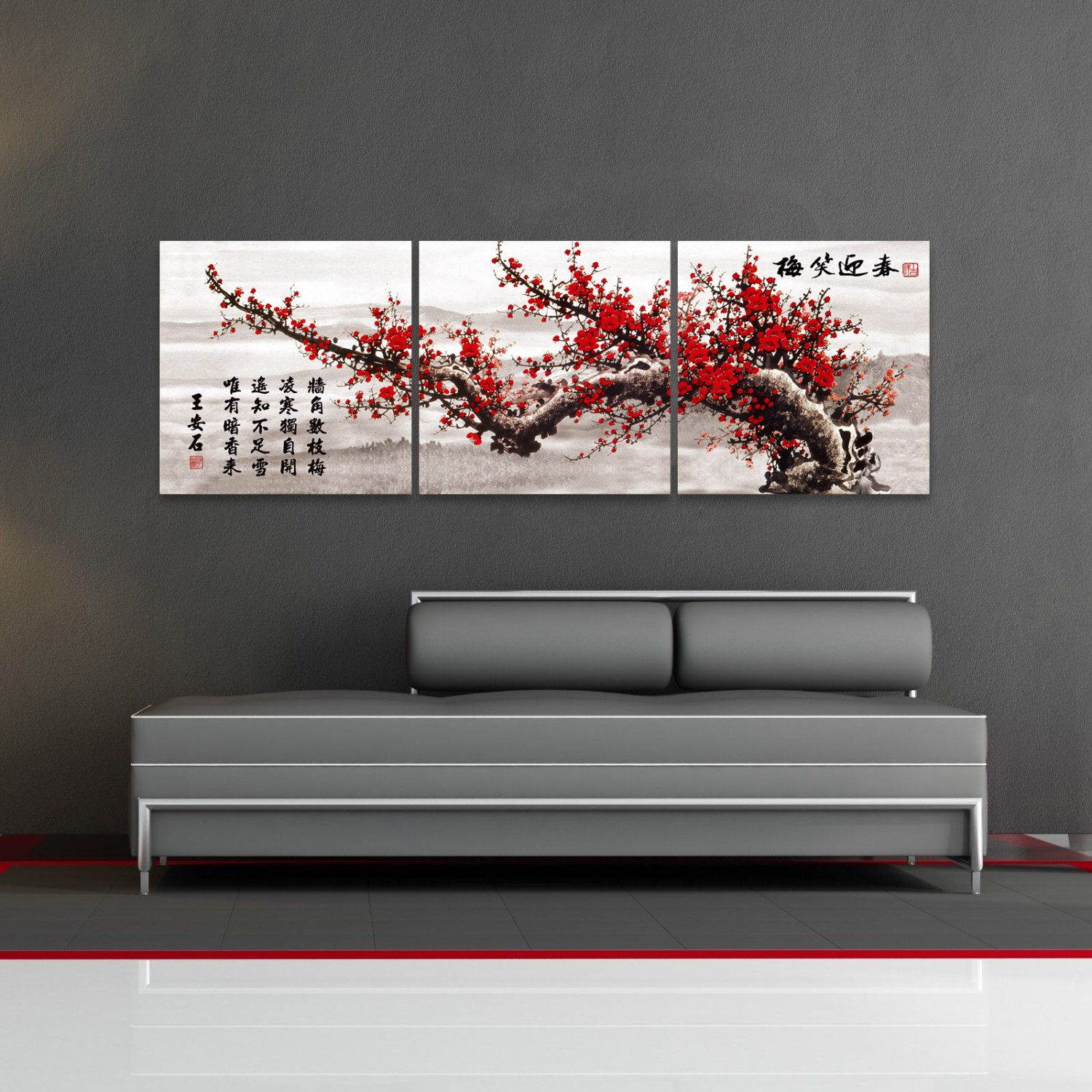 Cherry blossom flower chinese asian canvas fiberboard
