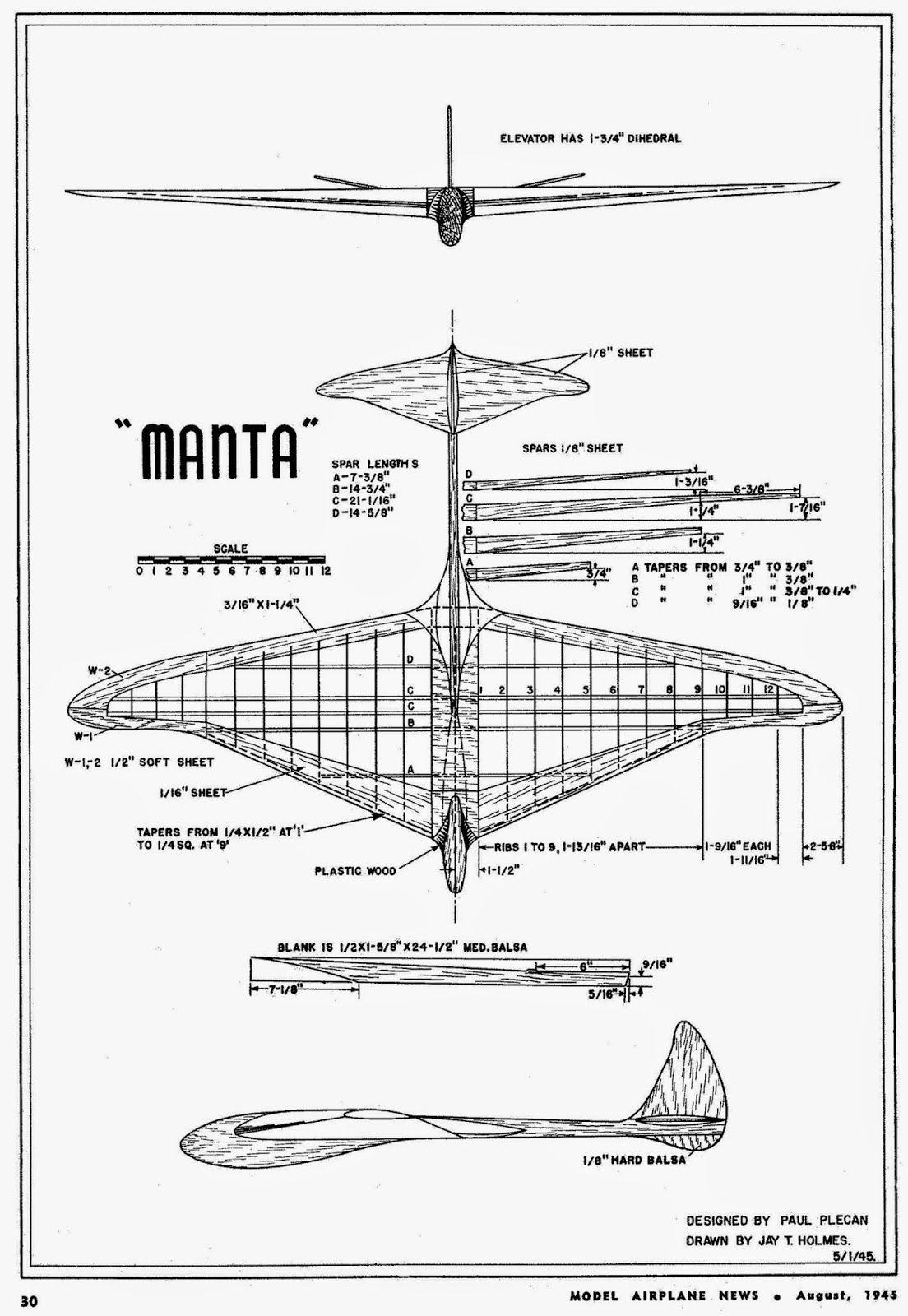 Volar Libremente Free Flight Gliders Manta De Paul Plecan 1945