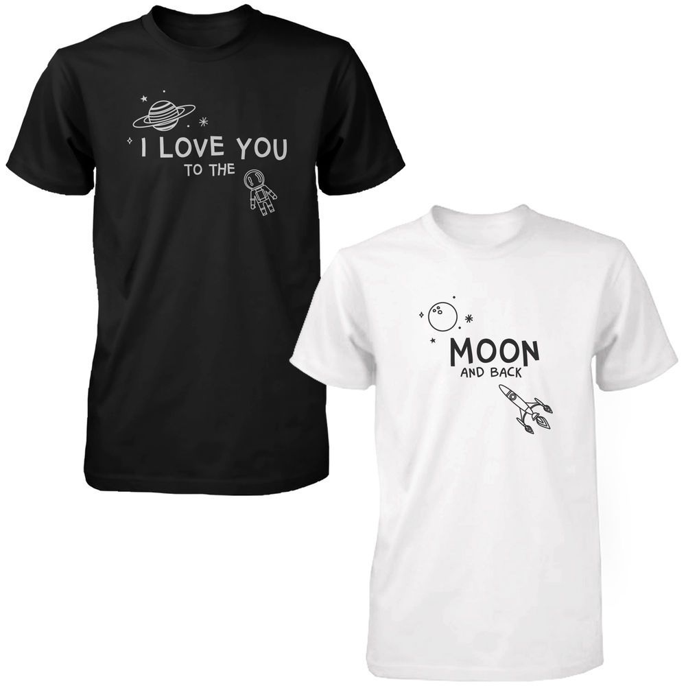 f52a338a8a I Love You to the Moon and Back Cute Couple Shirts Black and White Matching  Tee
