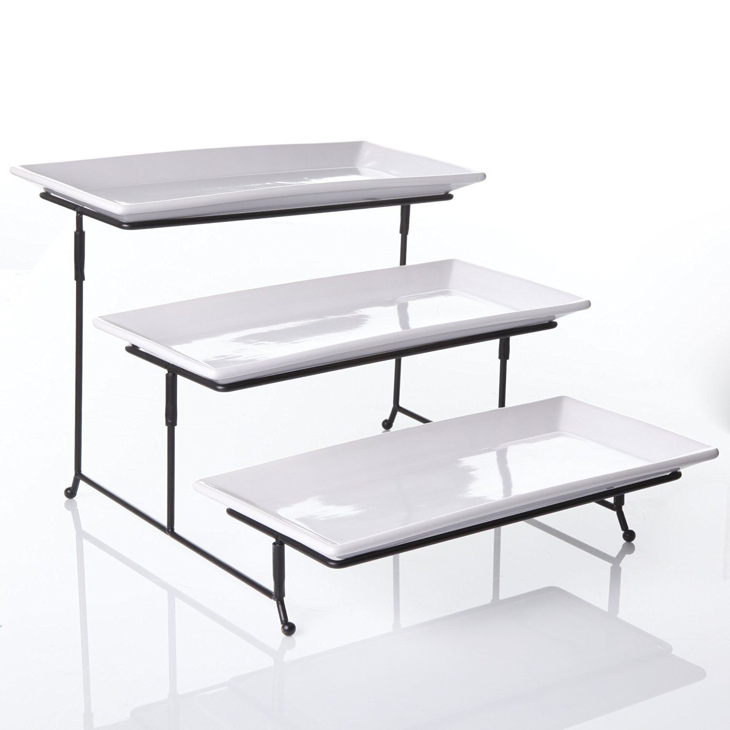 3 Tier Rectangular Serving Platter Three Tiered Cake Tray Stand Food Server Display Plate Rack Travessas De Servir Utensilios De Cozinha Organizacao Da Casa
