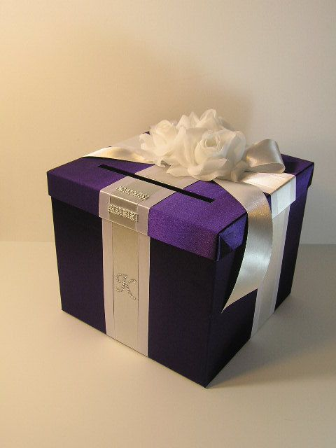 Purple and silver wedding card box Wedding Ideas – Wedding Gift Box for Cards